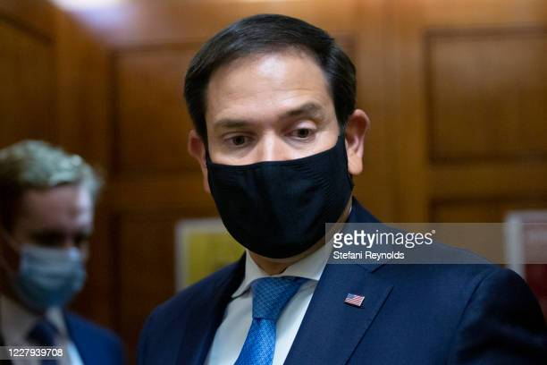 S Sen Marco Rubio speaks to members of the media in the Senate Subway under the US Capitol on August 6 2020 in Washington DC Senate Majority Leader...