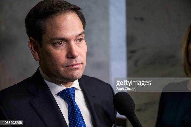 Sen Marco Rubio speaks to reporters following a closed briefing on intelligence matters on Capitol Hill on December 4 2018 in Washington DC