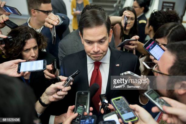 Sen Marco Rubio speaks to reporters on Capitol Hill May 10 2017 in Washington DC Senators from both parties are scrambling to react to President...