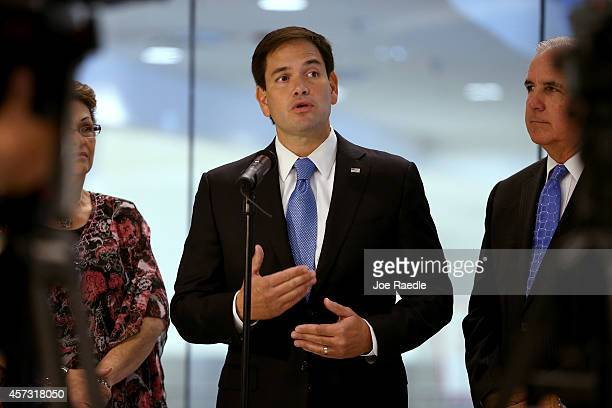 Sen Marco Rubio speaks to the media about the state of Floridas Ebola preparedness during a visit to the Miami International Airport on October 16...
