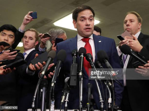Sen Marco Rubio speaks to the media after attending a briefing with administration officials about the situation with Iran at the US Capitol on...