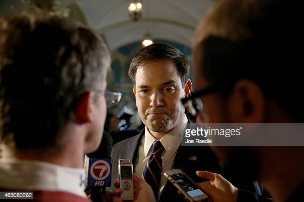 Sen Marco Rubio speaks with the media after delivering remarks during the graduation of small business owners from the Goldman Sachs 10000 Small...
