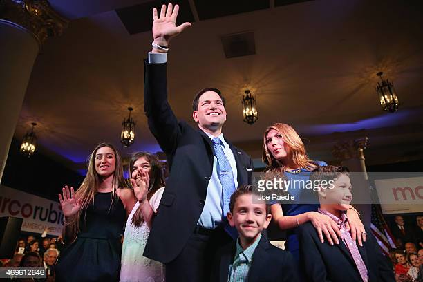 S Sen Marco Rubio stands with his wife Jeanette Rubio and children after announcing his candidacy for the Republican presidential nomination during...