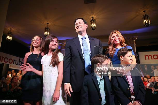 S Sen Marco Rubio stands with his wife Jeanette Rubio and their children after announcing his candidacy for the Republican presidential nomination...