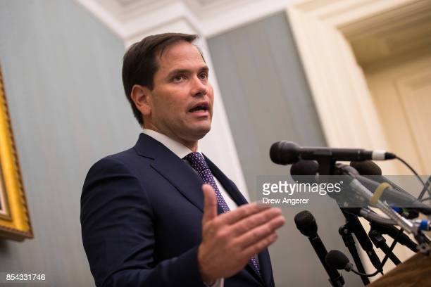 Sen Marco Rubio takes questions from reporters about the relief effort in Puerto Rico following Hurricane Maria September 26 2017 at the US Capitol...