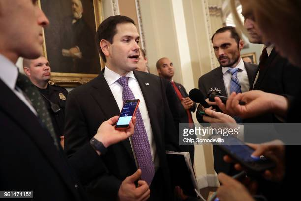 Sen Marco Rubio talks to reporters following the weekly Senate Republican policy luncheon at the US Capitol May 22 2018 in Washington DC Senate...