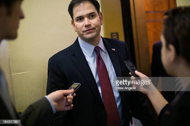 S Sen Marco Rubio talks to reporters on Capitol Hill March 22 2013 in Washington DC The Senate is scheduled to vote on amendments to the budget...