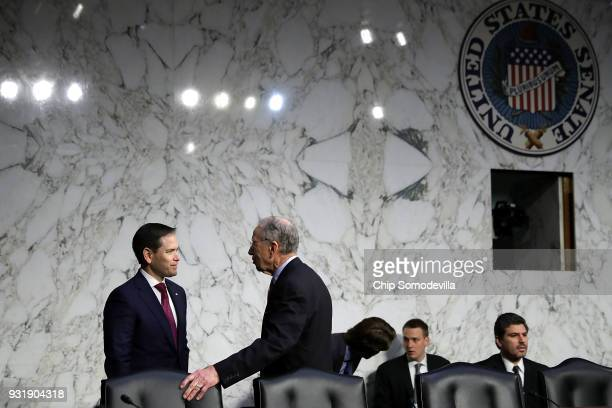Sen Marco Rubio talks with Senate Judiciary Committee Chairman Charles Grassley before a hearing about the massacre at Marjory Stoneman Douglas High...