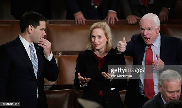 US Sen Marco Rubio US Sen Kristen Gillibrand and US Sen John McCain wait for US President Barack Obama to deliver the State of the Union address to a...