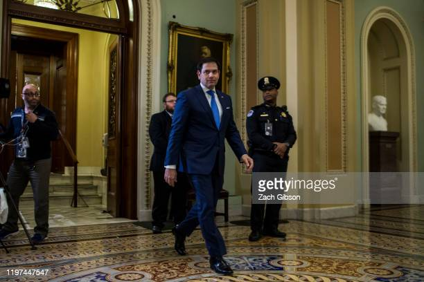 Sen Marco Rubio walks through the Capitol Building during the Senate impeachment trial of President Donald Trump at the US Capitol on January 29 2020...