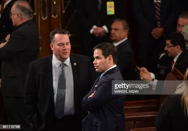 Sen Marco RubioRFL arrives before France's President Emmanuel Macron addresses a joint meeting of Congress inside the House chamber on April 25 2018...