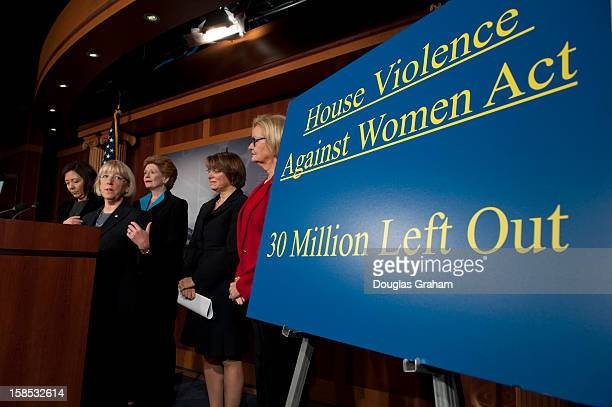 Sen Maria Cantwell DWA Sen Patty Murray DWASen Debbie Stabenow DMI Sen Amy Klobuchar DMN and Claire McCaskill DMO during a news conference with...