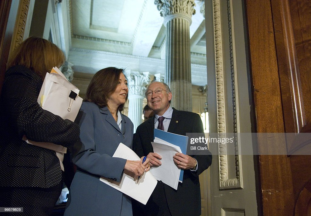 Sen. Maria Cantwell, D-Wash., and Sen. Ken Salazar, D-Colo., arrive for their news conference to highlight the importance of passing federal legislation that punishes gas-price gougers as part of a comprehensive energy bill on Tuesday, June 12, 2007.