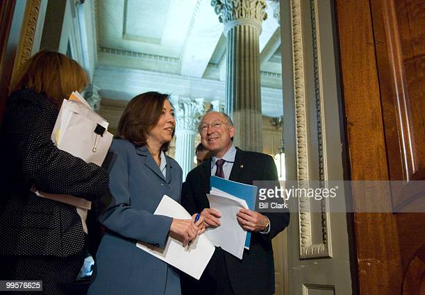 Sen. Maria Cantwell, D-Wash., and Sen. Ken Salazar, D-Colo., arrive for their news conference to highlight the importance of passing federal...