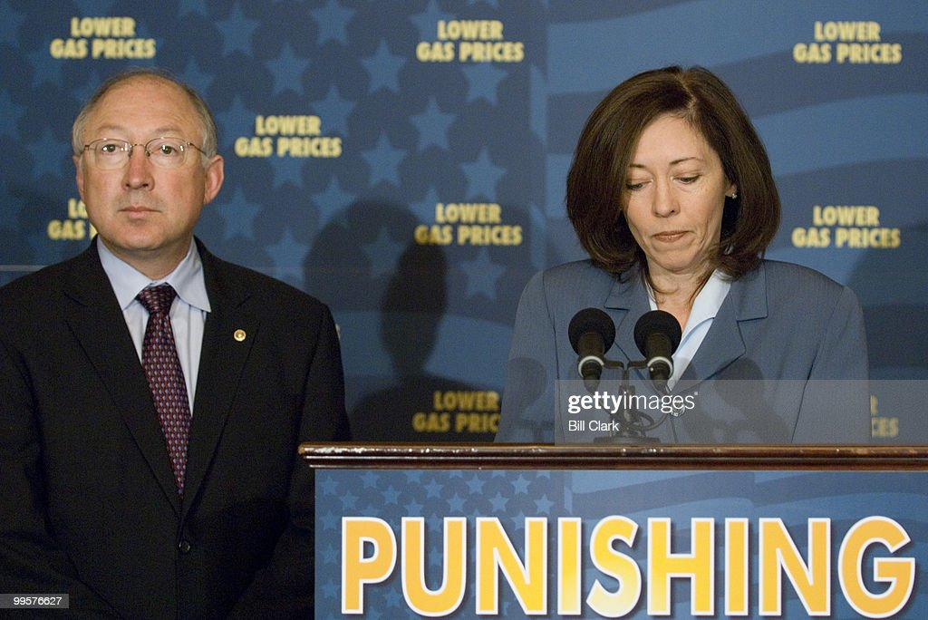 Sen. Maria Cantwell, D-Wash., and Sen. Ken Salazar, D-Colo., hold a news conference to highlight the importance of passing federal legislation that punishes gas-price gougers as part of a comprehensive energy bill on Tuesday, June 12, 2007.