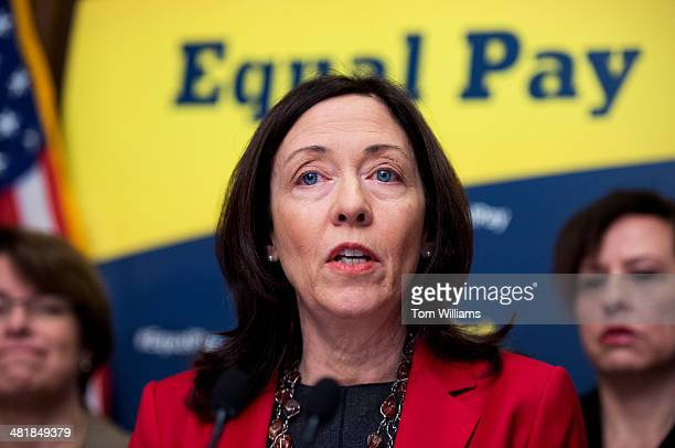Sen Maria Cantwell DWash speaks during a news conference in the Capitol to urge the Senate to pass the Paycheck Fairness Act which will help close...
