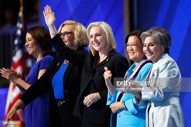 Sen Maria Cantwell Sen Claire McCaskill Sen Kirsten Gillibrand Sen Mazie Hirono and Sen Barbara Boxer acknowledge the crowd on the fourth day of the...