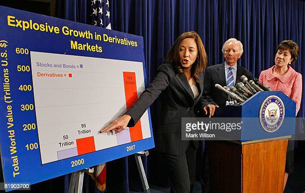 Sen Maria Cantwell speaks as Sen Susan Collins and Sen Joseph Lieberman look on as they discuss high energy and food prices during a news conference...