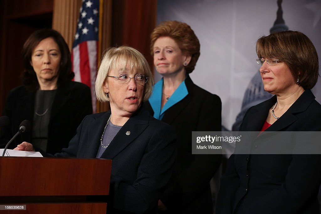 U.S. Sen. Maria Cantwell (D-WA), U.S. Sen. Patty Murray (D-WA), U.S. Sen. Debbie Stabenow (D-MI), and U.S. Sen. Amy Klobuchar (D-MN) participate in a news conference on violence against women on December 18, 2012 in Washington, DC. The Democratic female Senators discussed a domestic violence protection bill and have called on the House to pass it before Congress recesses at end of the year.