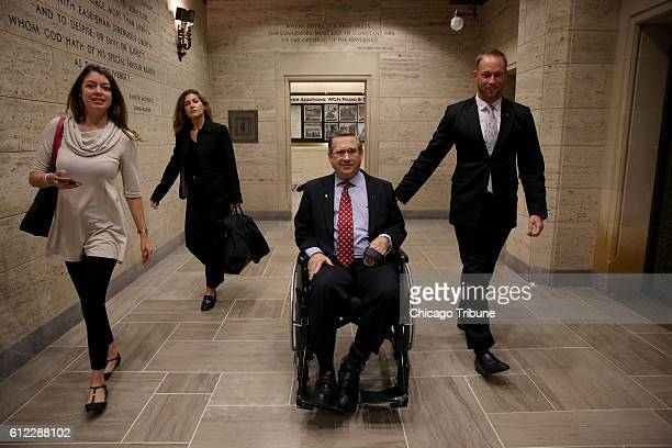 Sen Mark Kirk leaves the Chicago Tribune Tower after meeting with the editorial board Senate candidates Tammy Duckworth and Mark Kirk debated one...