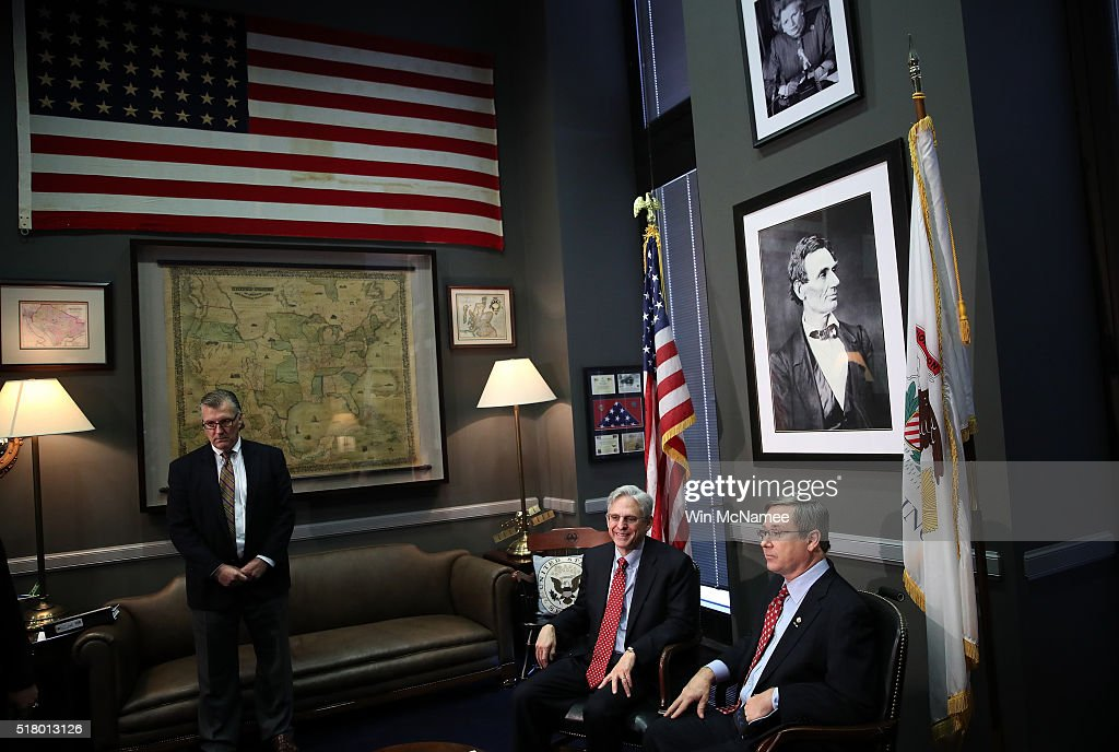 President Obama's Supreme Court Nominee Judge Merrick Garland Meets With Sen. Mark Kirk (R-IL) On Capitol Hill : News Photo
