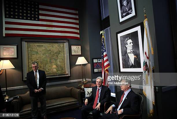 S Sen Mark Kirk meets with Supreme Court nominee Merrick Garland in Kirk's office on Capitol Hill March 29 2016 in Washington DC Kirk is the first...