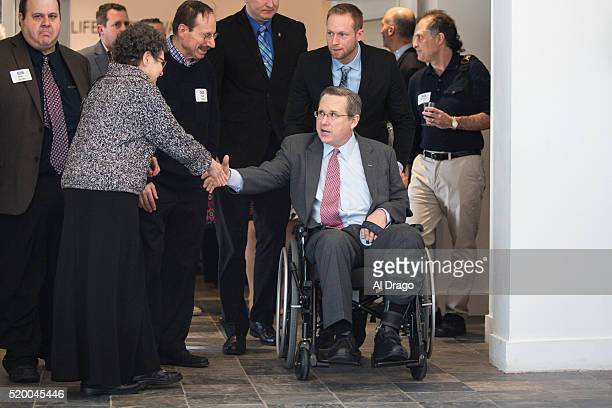 Sen. Mark Kirk, R-Ill., greets supporters at a fundraiser sponsored by the To Protect Our Heritage Politcal Action Committee, at The Art Center, in...
