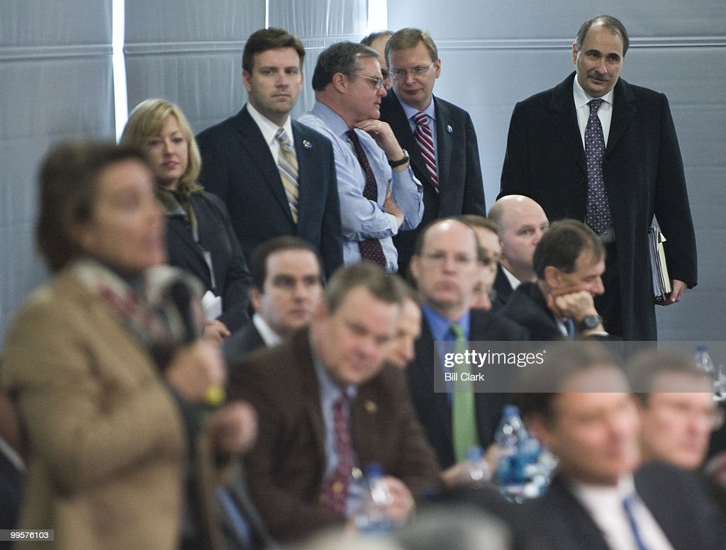 Sen. Mark Pryor, D-Ark., center, speaks with White House Deputy Cheif of Staff Jim Messina and White House advisor David Axelrod as Sen. Blanche Lincoln, D-Ark., (foreground) asks President Barack Obama a question during the Senate Democrats retreat at the Newseum in Washington on Wednesday, Feb. 3, 2010.