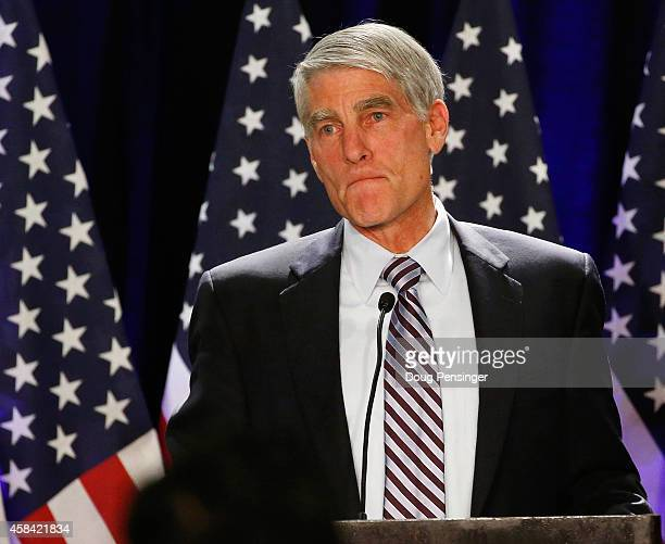 Sen. Mark Udall addresses guests at a Democratic Party election night event at the Westin Denver Downtown Hotel on November 4, 2014 in Denver,...