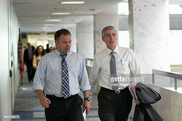 Sen. Mark Udall arrives for a Senate Intelligence Committee closed hearing, on Capitol Hill, September 10, 2013 in Washington, DC. President Barack...