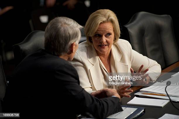 Sen Mark Udall DCo and Sen Claire McCaskill DMO talk before the start of the Armed Services Committee hearing on pending legislation regarding sexual...