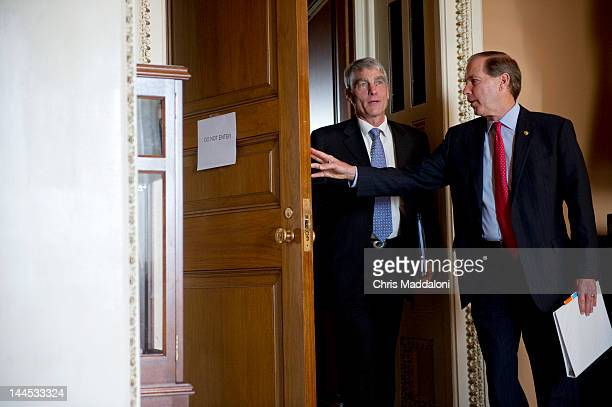 Sen. Mark Udall, D-Colo., and Sen. Tom Udall, D-N.M., at the weekly Senate policy luncheons.