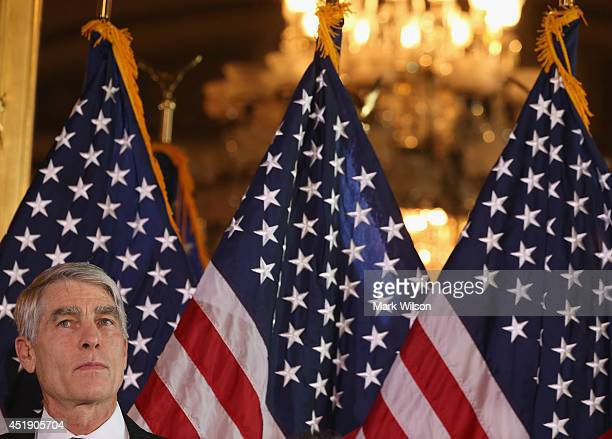 Sen. Mark Udall participates in a news conference about the Supreme Courts recent Hobby Lobby decision, on Capitol Hill, July 9, 2014 in Washington,...