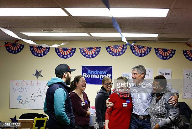Sen. Mark Udall thanks volunteers at a Democratic field office on November 3, 2014 in Aurora, Colorado. Udall is facing off against Republican...