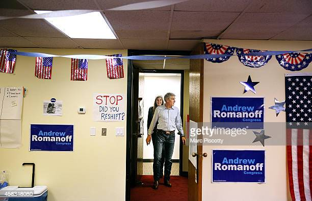 Sen. Mark Udall walks in to a Democratic field office in Aurora, Colorado to thank volunteers with his daughter Tess Udall on November 3, 2014. Udall...