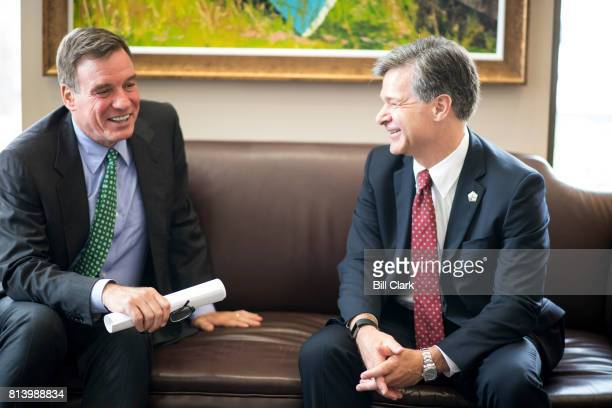 Sen Mark Warner DVa left meets with FBI Director nominee Christopher Wray in his office in the Hart Senate Office Building on Thursday July 13 2017