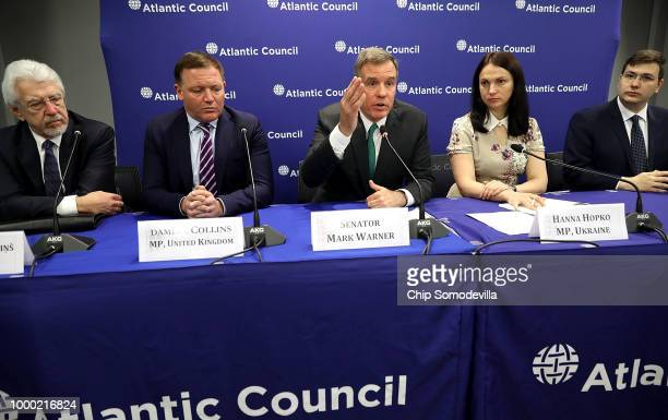 S Sen Mark Warner and Sen Marco Rubio both members of the Senate Intelligence Committee participate in a discussion at the Atlantic Council July 16...