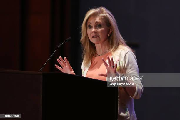 Sen Marsha Blackburn addresses the Faith and Freedom Coalition's Road to Majority Policy Conference at the US Capitol Visitor's Center Auditorium...