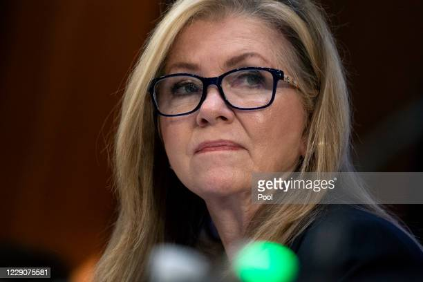 Sen. Marsha Blackburn looks on during testimony by Supreme Court nominee Amy Coney Barrett in front of the Senate Judiciary Committee on the third...