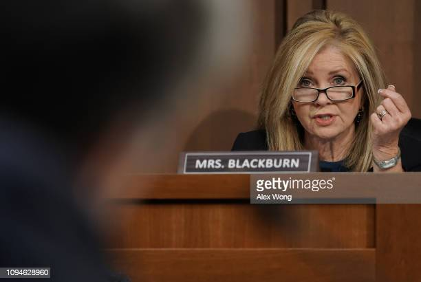 Sen Marsha Blackburn questions US Attorney General nominee William Barr during his confirmation hearing January 15 2019 in Washington DC Barr who...