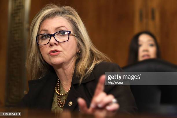 Sen. Marsha Blackburn speaks during a hearing before Senate Judiciary Committee December 10, 2019 on Capitol Hill in Washington, DC. The committee...