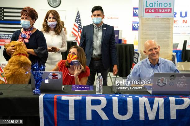 Sen. Martha McSally and Sen. Rick Scott make calls to supporters at a phone bank on October 29, 2020 in Phoenix, Arizona. McSally is running against...
