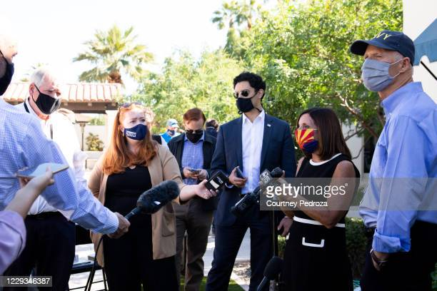 Sen. Martha McSally and Sen. Rick Scott speak to the press after a campaign event on October 29, 2020 in Scottsdale, Arizona. McSally is running...