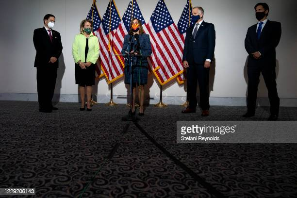 Sen. Martha McSally , center, speaks during a news conference regarding court packing on Capitol Hill on October 21, 2020 in Washington, DC. Last...