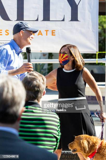 Sen. Martha McSally is greeted by Sen. Rick Scott before speaking to supporters on October 29, 2020 in Scottsdale, Arizona. McSally is running...