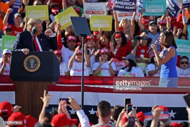Sen. Martha McSally praises U.S. President Donald Trump during a campaign rally at Phoenix Goodyear Airport October 28, 2020 in Goodyear, Arizona....