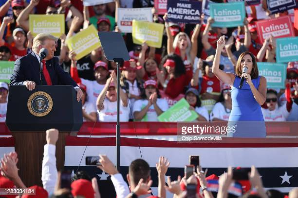 Sen. Martha McSally praises U.S. President Donald Trump during a campaign rally at Phoenix Goodyear Airport October 28, 2020 in Goodyear, Arizona....