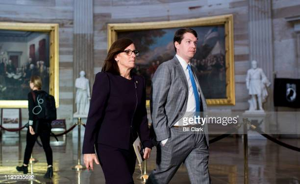 Sen Martha McSally RAriz walks back to the Senate through the Rotunda after attending the Congressional Gold Medal Award Ceremony for former NFL...