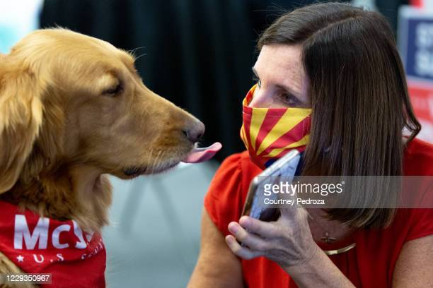 Sen. Martha McSally shares a moment with her dog, Boomer, at a phone bank on October 29, 2020 in Phoenix, Arizona. McSally is running against...