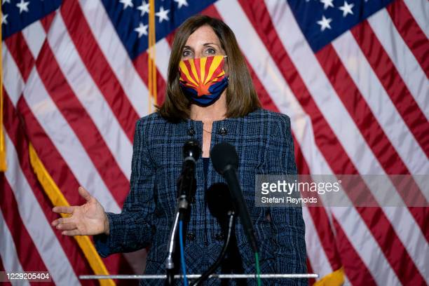 Sen. Martha McSally speaks during a news conference regarding court packing on Capitol Hill on October 21, 2020 in Washington, DC. Last year, Sen....